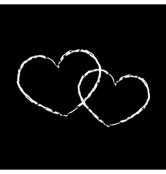 White hearts icon double grunge 2 vector image vector image