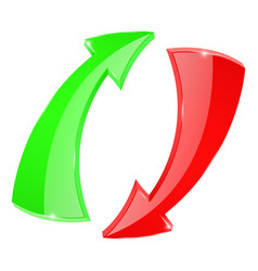 arrows circulation sign red and green vector image