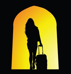 girl travel silhouette vector image vector image