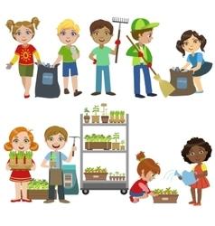 Kids Gardening And Picking Up Garbage Set vector image