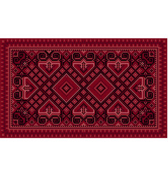 Luxurious vintage oriental carpet with maroon shad vector