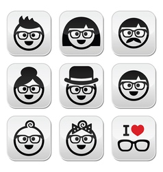 People wearing glasses geeks icons set vector image vector image