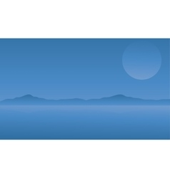 Silhouette of Mountain and Moon vector image vector image