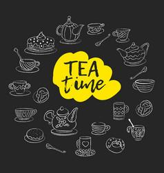 tea time swirls mugs teapot cakes buns cups vector image