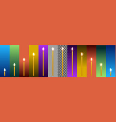 wax candles on backgrounds in different colors vector image vector image