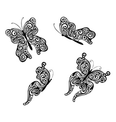 Abstract flying butterflies vector image vector image