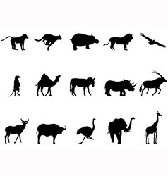 africa animals silhouettes vector image vector image
