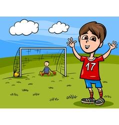 boy playing soccer cartoon vector image