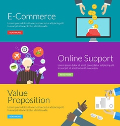 Flat design concept for e-commerce online support vector image
