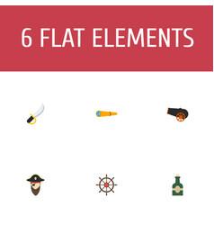 flat icons sabre ship steering wheel telescope vector image