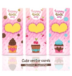 Happy Birthday card set with cupcake vector image vector image