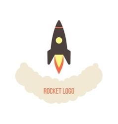 rocket launch logo isolated on white background vector image