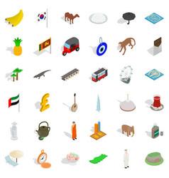 tourism icons set isometric style vector image