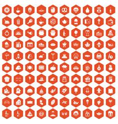 100 bounty icons hexagon orange vector