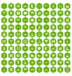 100 mountaineering icons hexagon green vector