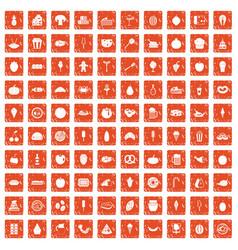 100 tasty food icons set grunge orange vector