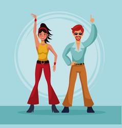 80s couple dancing cartoon vector