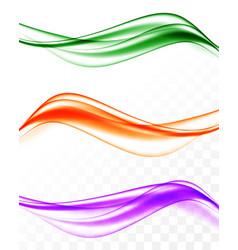 Abstract elegant wavy bright lines set vector
