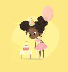 African american kid girl blow birthday cake vector