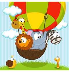 Animals traveling by balloon vector