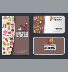 autumn season corporate identity design set flyer vector image