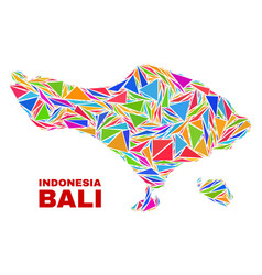 Bali map - mosaic of color triangles vector