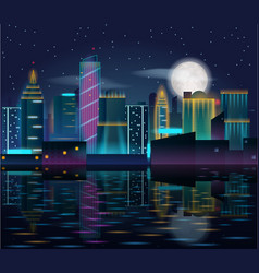 big city night landscape with skyscrapers in neon vector image