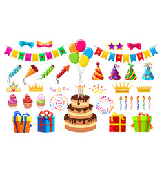 Birthday party items vector