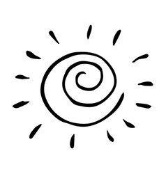 Black and white hand drawn sun vector