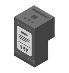 Black ink printer cartridge icon isometric style vector