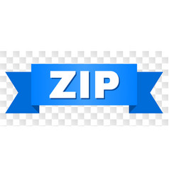 Blue ribbon with zip caption vector