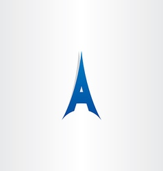 blue tower letter a logo icon vector image