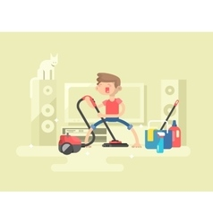 Boy cleaning house vector image