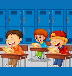 Boys taking exam vector
