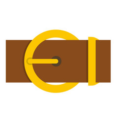 Brown belt with a gold round buckle icon isolated vector
