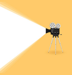 Camera old movie on yellow background vector