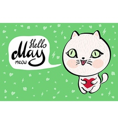 Cartoon cat with hello may meow banner background vector