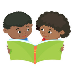 cartoon kids reading book african africa vector image
