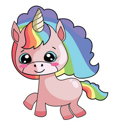 Cartoon unicorn with a rainbow mane sweet pony vector