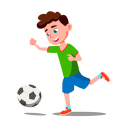 Child playing soccer on the field isolated vector