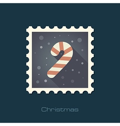 Christmas Candy Cane flat stamp vector image