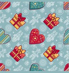 christmas gift box and patterned heart seamless vector image vector image