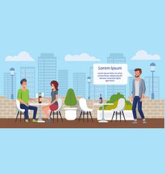 City restaurant street cafe flat poster vector