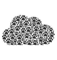 Cloud mosaic paw footprint icons vector