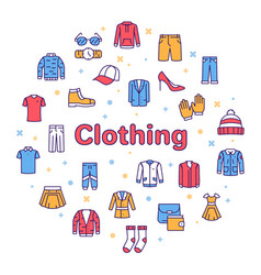 Color line icon round set clothing vector