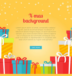 Colourful boxes on yellow christmas background vector