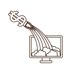Computer screen with dollar rocket isolated icon vector