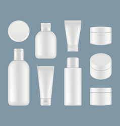 cosmetic tubes makeup plastic packages and round vector image
