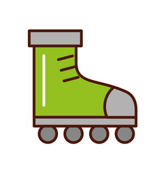 cute brightly green roller skates vector image
