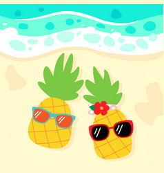 cute pineapples relaxing on beach vector image
